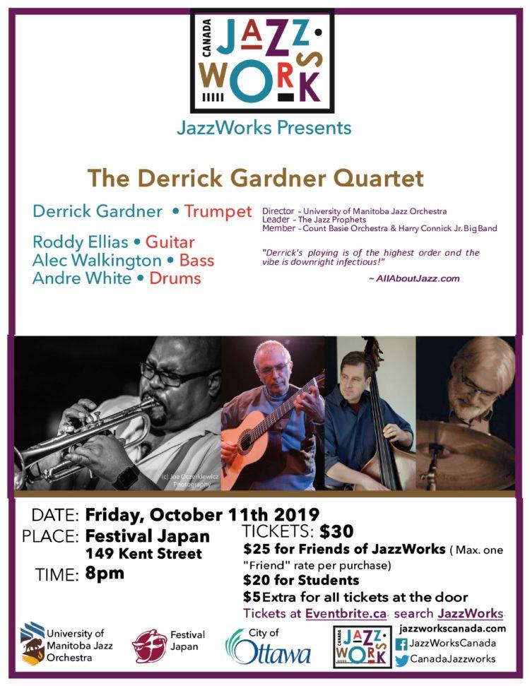 JazzWorks presents Derrick Gardner Quartet - 10/11